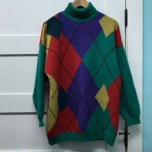 Vintage Shetland wool turtleneck argyle sweater